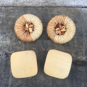 Two Pair Vintage Boho Natural Wooden Earrings Clip